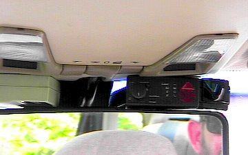 V1 and garage door opener hold down the rearview mirror